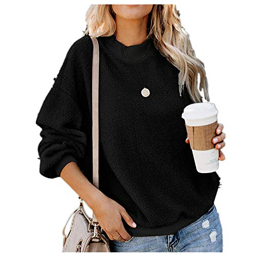 WOCACHI Womens Sweater Pullover, Women's Casual Long Sleeve O-Neck Solid Pullover Sweatshirt Fuzzy Fleece TopsCarry Lipsticks Phones Pocket Money Side-Zip Stitching Raglan Sleeves Cozy Chill Black