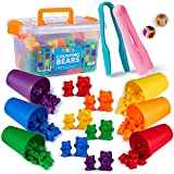 BleuZoo Rainbow Counting Bears (101 Piece Set) + Activity eBook | Montessori Educational Toddler Fine Motor Skills Math Sorting Preschool Learning Toys | 90 Bears, 6 Matching Cups, 2 Tweezers, 2 Dice