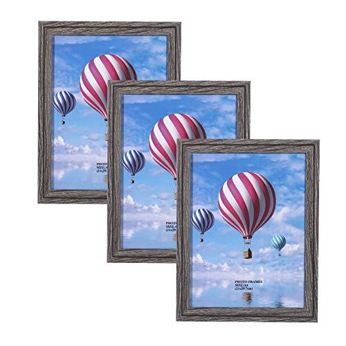 Metrekey 3er Set Bilderrahmen A4 (21 x 29,7 cm) Grau Holzmaserung aus MDF mit Acryl Glas Deko Fotorahmen für Foto Urkunden wandhängend oder freistehen