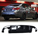NINTE Rear Diffuser for 2014-2017 Infiniti Q50/Q50s Gloss Black ABS Lower Bumper Lip