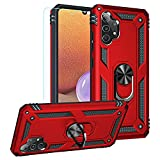 Samsung A32 4G Case,Galaxy A32 4G Case,PUSHIMEI Military Grade Heavy Duty Protection Phone Case Cover with HD Screen Protector Magnetic Ring Kickstand for Samsung Galaxy A32 4G (Red Military Case)