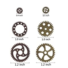 Teenitor 200 Gram Assorted Antique Steampunk Gears Charms Cogs Cyberpunk Vintage Pendant Clock Watch Wheel Gear for DIY Crafting Jewellery Making Finding Parts Accessory Bronze & Copper(Approx 140pcs) #2