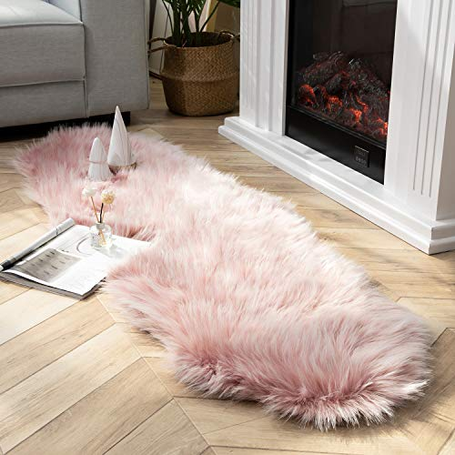 Ashler Faux Fur Rug Soft Faux Peacock Fluffy Rugs Luxurious Carpet Rugs Area Rug for Bedroom, Living Room Carpet Pink- 2 x 6 Feet