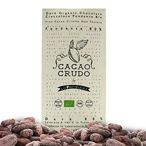 CiboCrudo Tavoletta di Cioccolato Fondente al 80%, Qualità Criollo Pura al 100% Senza Zucchero, Poche Calorie, Gusto Vero del Cacao, Cioccolato Extra, Marchio Cacao Crudo – 50 gr
