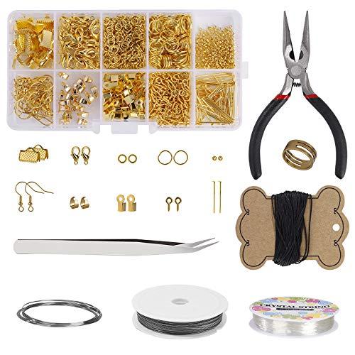Kit de Suministros para Hacer Joyas Kit de Herramientas de Reparación de Joyas para Hacer Manualidades con Alicates para Joyería, Alambre de Abalorios y Herramientas de Bisutería (Dorado)