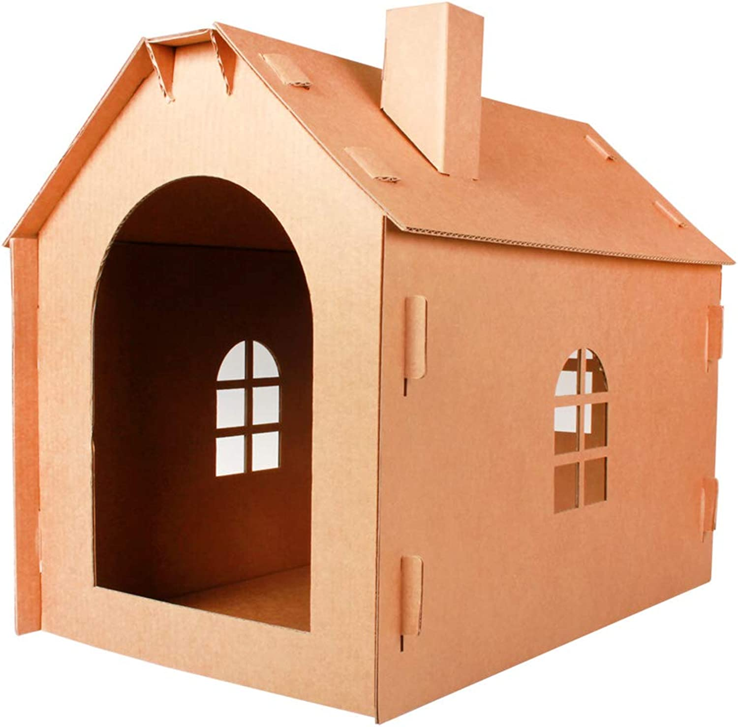 Cages Pet House Corrugated Cat House Cat Litter Cat House Cat Claws Cardboard Cat Carton Gift (color   Brown, Size   51  35  43cm)