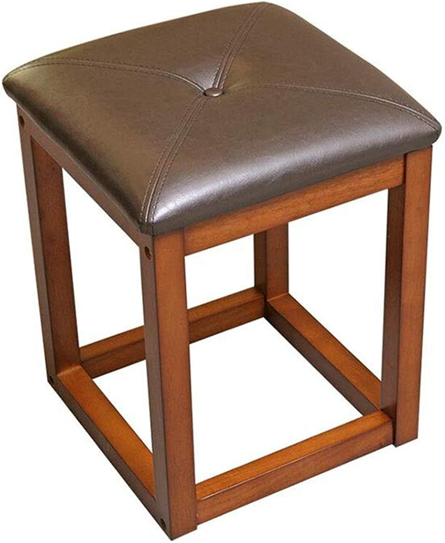QIQI-LIFE Stool Solid Wood Square Stool Leather Stool Simple Modern Leisure Stool Wooden Footstool Sofa Stool