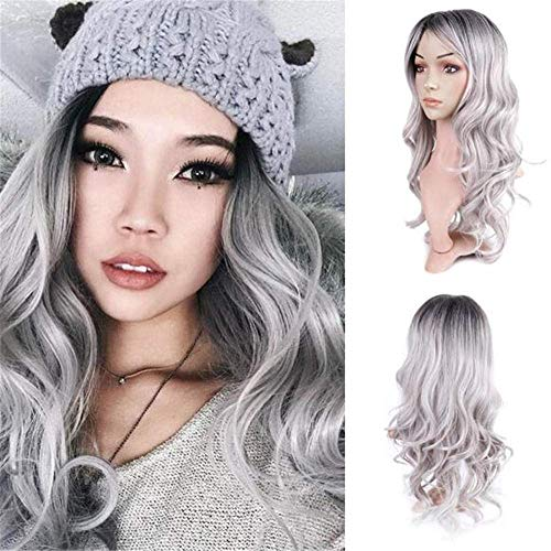 Perruque Lady Grey Longs Cheveux Bouclés De Mode Naturel Humain Synthétique De Noël Longues Ongles Perruques Moyenne Longueur