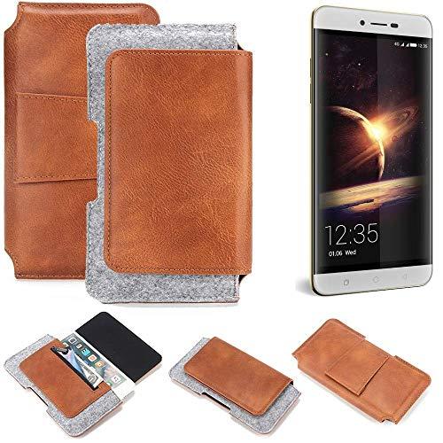 K-S-Trade® Schutz Hülle Für Coolpad Torino Gürteltasche Gürtel Tasche Schutzhülle Handy Smartphone Tasche Handyhülle PU + Filz, Braun (1x)