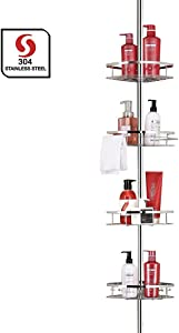 SEIRIONE Bathroom Shelf, Tension Shower Pole Corner Caddy, Rustproof 304 Stainless Steel, 4 Tier Adjustable Baskets, Height Adjustable 4.7 to 9.3ft