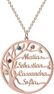 Collana con Nome Personalizzato Argento Sterling 925 Pendente Ciondolo Albero della Vita Famiglia Regalo Mamma Madre Fidan...