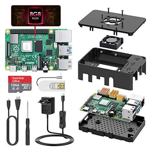 TICTID Raspberry Pi 4 Modell B 8GB Kit mit 128GB Class10 Micro SD-Karte, Upgraded Raspberry Pi 3/originaler Raspberry Pi 4 mit Quad-Core ARM-Cortex-A72 unterstützt Dual Display 4K/1000Mbps/BT 5.0 …