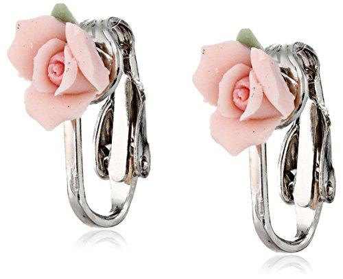 1928 Bridal Porcelain Rose Clip Earrings