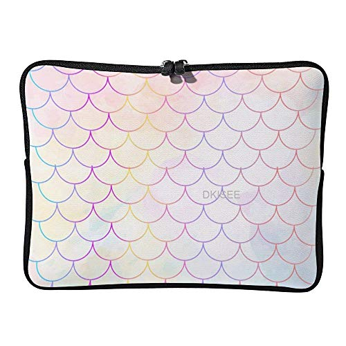 DKISEE Mermaid Scale Laptop Sleeve for Women Men, Compatible with 17 Inch MacBook Air/MacBook Pro Notebook Two-way Zippers Laptop Carrying Bag Case Cover, SDS273