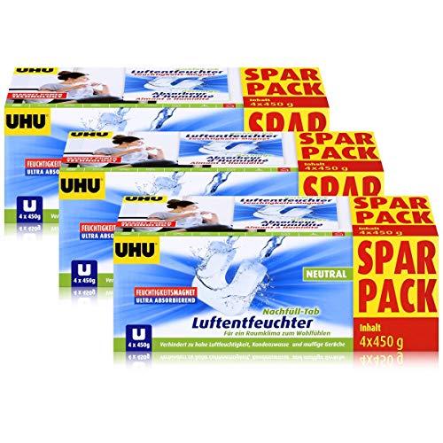 Uhu Luftentfeuchter Nachfüll-Tab Neutral 4x450g - Verhindert zu hohe Luftfeuchtigkeit, Kondenswasser und muffige Gerüche - Ultra absorbierender Feuchtigkeitsmagnet (3er Pack)