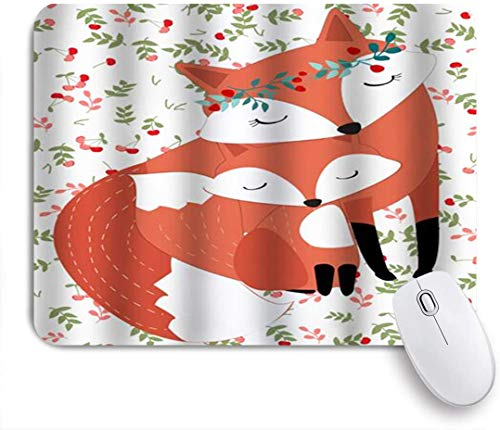 MIGAGA Mouse Pad Cherry and Fox Cute mom and Child Flowers Garland Customized Art Mousepad Non-Slip Rubber Base for Computers Laptop Office Desk Accessories