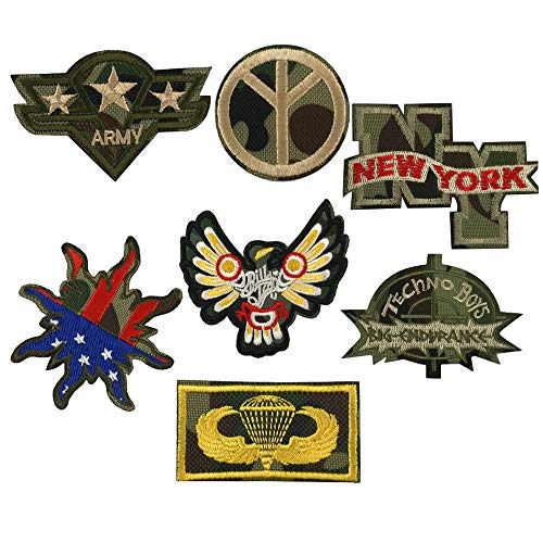 Camouflage Iron on Patches Embroidered Military Patches Morale Sew On Patches for Military Fans Applique Stickers Badges Clothes Jacket T-Shirt Decorations Men Women Girls Boys Washable Decals 7Pcs