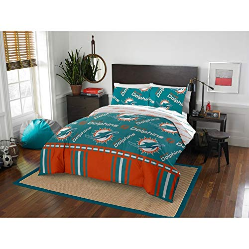 MISC 5 Piece Dolphins Comforter & Sheets Set Full Queen, Football Sports Bedding for Boys Kids Bedroom Team Logo Printed Collegiate Pattern Home Decor Game Fans Gift Super Soft Cozy Quality Polyester