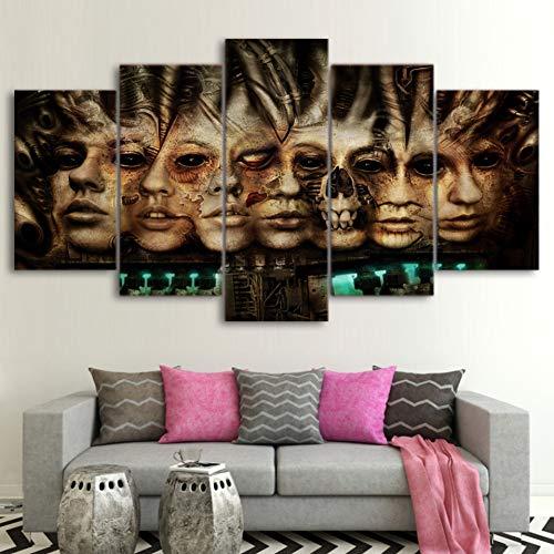GIAOGE schilderij modulaire poster Hd Print wooncultuur voor woonkamer 5 stuks vintage horrorverhaal canvas schilderij muurkunst schilderijen fotolijst No Frame 20x35 20x45 20x55 cm