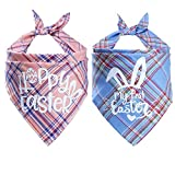 STMK 2 Pack Easter Plaid Dog Bandana, Holiday Plaid Dog Puppy Bandana Triangle Scarf for Dog Puppy Easter Holiday Party Supplies (Pink and Blue)