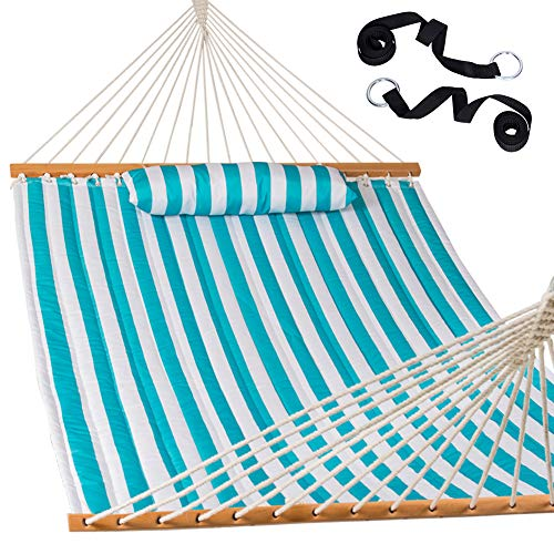 Lazy Daze Hammocks Quilted Fabric Double Hammock with Pillow and Straps, Spreader Bar Swing for Two...