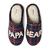 Dearfoams Men's Papa Bear Slipper, Blue Tartan Plaid, Small