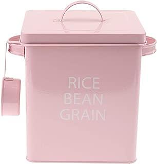 ペット 犬猫 食糧貯蔵保存容器 高容量 餌貯蔵タンク カップ付 密閉食物缶 保存ボックス 防湿 - ピンク