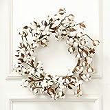 "pinnaclet1 real cotton wreath - 24"" natural floral twig door wreath farmhouse decor christmas"