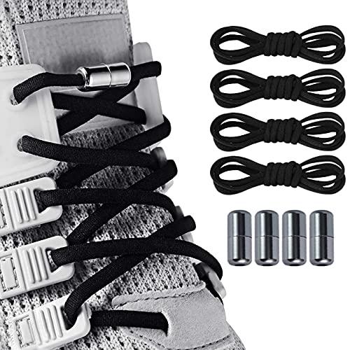 Dorzu 2 Paar Schnürsenkel ohne binden, Elastische Schnürsenkel mit Metallkapseln ohne binden, Flexible Schnürsenkel für Sneaker, Laufschuhe, Sporschuhe