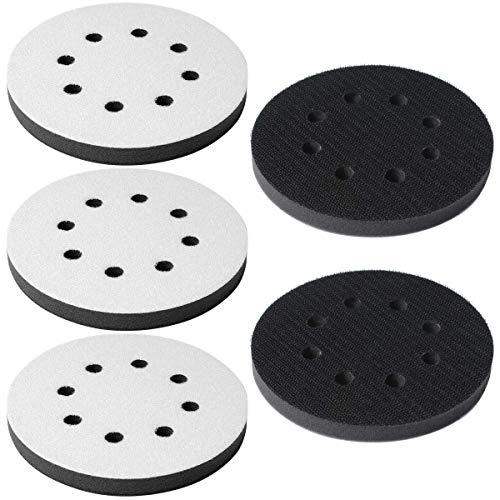 Poweka Softauflage 125mm für Exzenterschleifer 8-Loch aus Schaum (weich) Klett-Schleifpapier 5 Stück