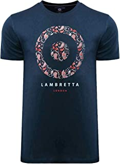 Lambretta Mens Paisley Target Cotton Short Sleeve T-Shirt Top Tee - Navy - XL