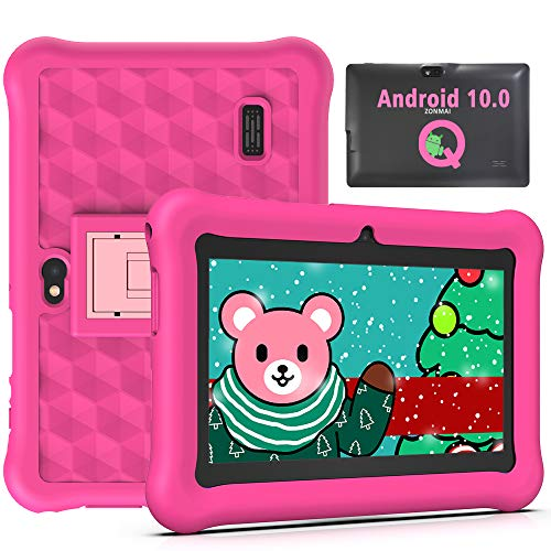 Tablet para Niños 7 Pulgadas Android 10.0 Google Certified Playstore, 2GB RAM 32GB ROM Ampliable hasta 128GB, Tablet de Niños con WiFi Juegos Educativos Kid-Proof Funda (Rosa)