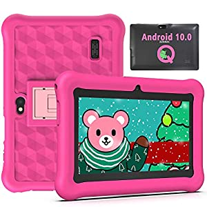 Tablet para Niños 7 Pulgadas Android 10.0 Certificado por Google GMS, Quad Core 2GB RAM 32GB ROM Doble Cámara Kid-Proof Funda, Tablet Niños con WiFi Youtube y Juegos Educativos (Rosa)