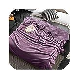 Abサイドサンゴベルベットとラムカシミアブランケットベッドソファ用ソフト厚ブランケットベッドルーム用暖かいフリースブランケット13色40、Purple、100X160Cm