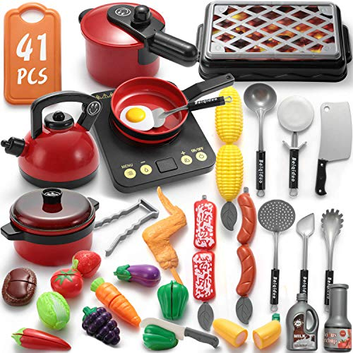 WADILE Kitchen Play Toys Sets 41PCS Plastic with Barbecue Cookware Playset Pot Pans Food Prentend Play Accessories Learning Gift for Girl Boy Kids Toddles