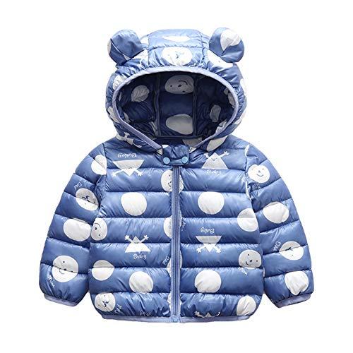 Minizone Baby Puffer Jacke mit Kapuze Jungen Mädchen Leichter Schneeanzug Kinder Herbst Winter Warmer Mäntel Outfits Mode Kleidung Geschenk 1-2 Jahre,Blau