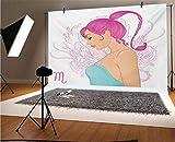 Telón de fondo de vinilo del zodiaco Escorpio de 15 x 10 pies, ilustración de un signo de escorpión como una mujer joven en un vestido azul fondo para decoración del hogar, decoración al aire libre