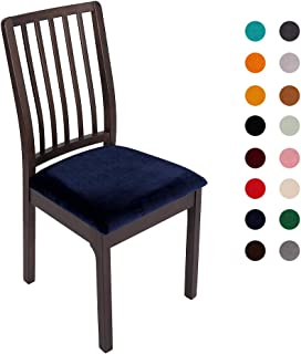 Soft Velvet Stretch Fitted Dining Chair Seat Covers, Removable Washable Anti-Dust Dining Room Upholstered Chair Seat Cushion Cover Kitchen Chair Protector Slipcovers with Ties - Set of 2, Navy