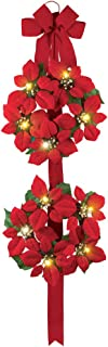 Collections Etc Lighted Poinsettia Double Wreath