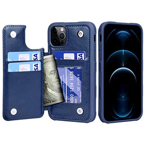 Migeec Funda para iPhone 12 Pro MAX - Funda Tipo Cartera con Bolsillos para Tarjetero [a Prueba de Golpes] Funda con Tapa Trasera para iPhone 12 Pro MAX de 6,7 Pulgadas - Azul