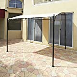The Lakeside Collection Sunshade Awning Gazebo with Polyester Shade, Steel Stand