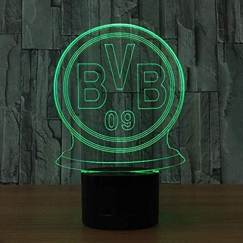 LED nachtlicht BVB abzeichen geschenk spielzeug dekoration 3D diashow 7 farbe touch control USB powered party dekoration licht 3D visuelles licht für dekoration Weihnachten geburtstagsgeschenk