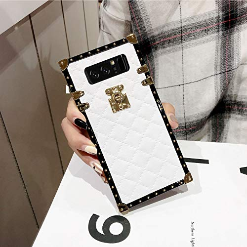 Galaxy Note 8 Grid Plaid Case,SelliPhone Luxury Design Cute Slim Diamond Lattice Soft TPU Trunk Case,Unique Women Girls Lady Phone Skin for Samsung Galaxy Note 8 (2017),White
