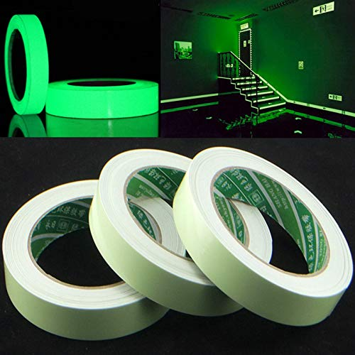 Electronica Night Glow Tape , Removable, Waterproof, Photoluminescent Glow in the Dark, High Intensity , Self Adhesive Radium Tape (24mm x 10 Feet)