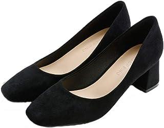 [QIFENGDIANZI] スクエアトゥ 太めヒール パンプス レディース ヒールの高さ 5 cm ハイヒール 22.0-25.0cm ブラック ベージュ 歩きやすい 滑り止め 痛くない 美脚 OL風 通勤