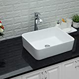 Lordear 19'x15' Bathroom Sink and Faucet Combo Modern Rectangle Above White Porcelain Ceramic Vessel Vanity Sink Art Basin& Chrome Single Lever Faucet Combo