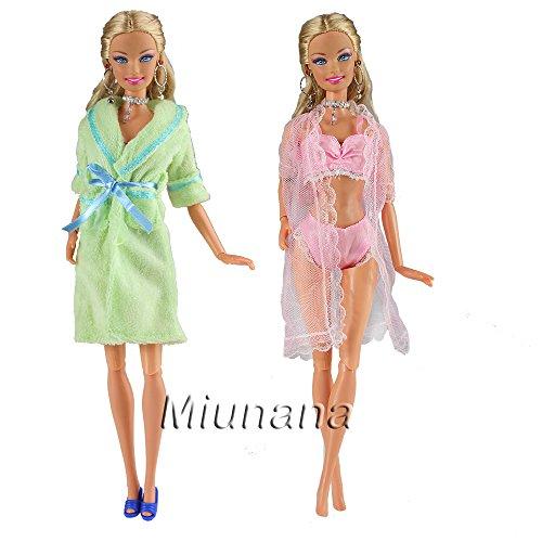 Miunana 2x Pijamas = 1 Verde Camisón + 1 Rosado Traje de Pijama con Sujetador y Bragas Ropa Interior para 11.5 Pulgadas 28 - 30 cm Muñeca( Rosado y Verde )