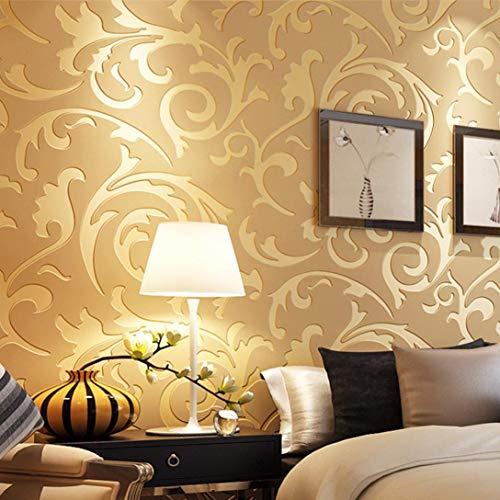 wallpaper CLOOM,Carta da parati 3D in tessuto non tessuto con motivo astratto moderno e minimalista, Tessuto, 0,53 x 10 m pollici (Oro, 1PC)