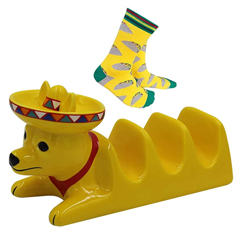 TRUE BORN Taco Holder, Ceramic Cute Dog Taco Stand for 3 Taco Shells with Fun Taco Socks. Mexican Fiesta Dinnerware.Ideal for Taco Tuesday or Cinco de Mayo Food Parties
