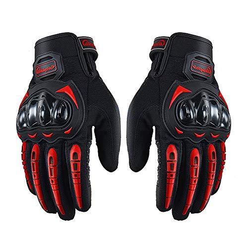 Guantes de dedo completo para motocicleta con pantalla táctil para ciclismo, moto, ATV, caza, senderismo, escalada, trabajo y deportes, color rojo, M